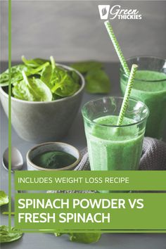 Spinach powder vs fresh spinach. Science tells us which is the winner. Make your own or buy spinach powder and make my spinach powder smoothie for weight loss. Green Smoothie Cleanse, Green Detox Smoothie, Green Smoothie Recipes, Green Smoothies, Smoothie Diet, Raw Vegan Recipes, Vegan Food, Healthy Food, Healthy Recipes