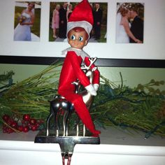 Elf on a stocking holder