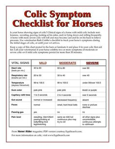Colic check list..handy