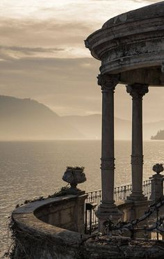 Lake Como patio at dusk, Italy