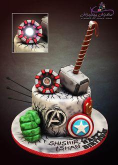 Boys Bday Cakes, Avengers Birthday Cakes, Hulk Birthday, Boy Birthday, Cake Birthday, Marvel Cake, Batman Cakes, Bolo Thor, Pastel Avengers