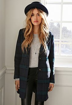 Wool-Blend Plaid Overcoat | FOREVER21 - 2000119902