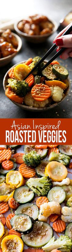 Easy asian inspired veggies roasted in the oven! Delicious #ad #WokWednesday