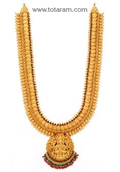 Check out the deal on Gold 'Lakshmi Kasu' Long Necklace (Temple Jewellery) at Totaram Jewelers: Buy Indian Gold jewelry & Diamond jewelry Gold Temple Jewellery, Gold Jewellery Design, Antique Jewellery, Gold Chain Design, Gold Jewelry Simple, Gold Bangles, Gold Necklaces, Jewelry Model, Diamond Jewelry