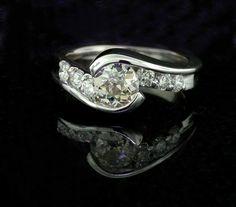 custom diamond bypass style engagement ring in 14k white gold