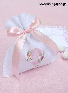 Μπομπονιέρα βάπτισης πουγκί Pink Hotair Balloon | an-agapas.gr