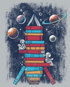 Reading Rocket Ship © JORGE GARZA (Digital Artist, Tee-Shirt Artist. Lake Station, Indiana, USA) aka QETZA via ShirtWoot tee-shirt site. Artist shop: qetza DOT storenvy-dot-com/ ... ... KEEP attribution & links when repinning or posting to other social media (ie blogs, twitter, tumblr etc). Don't pin the art & erase the artist. Give credit where due. See: http://pinterest.com/picturebooklove/how-to-pin-responsibly/ -pfb