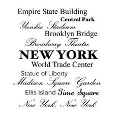 Empire state building, Central park, Yankee stadium, Brooklyn bridge, Broadway Theatre, NEW YORK, World Trade Center, Statue of Liberty, Madison Square Garden, Ellis Island, Time Square, New York New York Vinyl wall art Inspirational quotes and saying home decor decal sticke