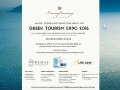 More than proud to announce that our company will be participating for a 2nd consecutive year at the official tourism exhibition of Athens the Greek Tourism Expo that will take place between 25-27 November 2016. You are all very welcome to come and visit us at our exhibition stand. For complimentary entrance & appointment requests please contact our office. http://ift.tt/1TX33qx #Luxuryconcierge #exclusiveservices