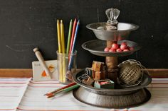 3 tier caddy from vintage pie tins