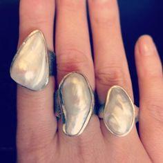 stunning #pearl #rings Pearl Rings, Gemstone Rings, Baroque Pearls, Ring Finger, Large White, Ring Designs, Etsy Store, Heaven, Bling