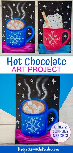 Kids will use chalk pastels and black paper to create this bold and bright hot chocolate art project! Easy to follow tutorial included.
