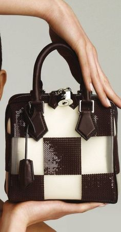 Louis Vuitton - Speedy Cube TPM Damier Optic Resille Transparent Nylon Mesh with Cream Silk Lining, Embroidered with Brown Sequins