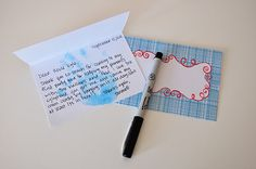 Good idea to have hand stamped and then write over for thank you cards from kids...