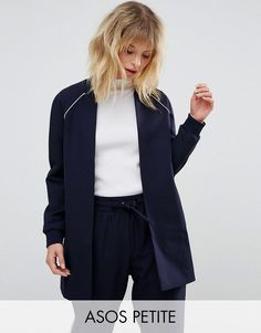 Buy it now. ASOS PETITE Longline Bomber with Raglan Sleeve Co-ord - Navy. Petite coat by ASOS PETITE, Smooth woven fabric, Lined design, Ribbed collar, Raglan sleeves, Ribbed cuffs, Longline cut, Relaxed fit, Machine wash, 86% Polyester, 14% Elastane, Our model wears a UK 8/EU 36/US 4. ABOUT ASOS PETITE 5�3�/1.60m and under? The London-based design team behind ASOS PETITE take all your fashion faves and cut them down to size. Say goodbye to all your short-girl problems with our perfectly ...