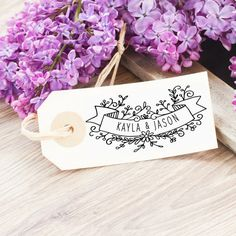 Wedding Logo Stamp with couples/ names by SouthernPaperAndInk on Etsy. Click through to personalize.