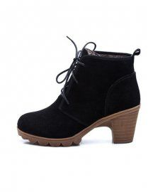 Newlook21#BLACK LACE-UP ANKLE BOOTS WITH BLOCK HEEL
