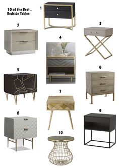 10 of the best bedside tables to suit a a range of budgets, ranging from Ikea through to the ever beautiful Laing and Eimil and Andrew Martin. Bedroom Furniture, Home Furniture, Gold Bedroom Decor, Furniture Design, Master Bedroom, Bedroom Sets, Bedding Sets, Bedrooms, Home Furnishings