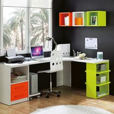 DIY Corner Desk Design Idea For Your Home Office. Browse photos of custom corner desk. Find ideas and inspiration for custom corner desk to add to your own home. Study Table Designs, Study Room Design, Home Office Design, House Design, Office Style, Decor Interior Design, Furniture Design, Coin Couture, Small Home Offices