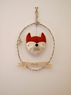 Woodland fox wreath personalised wall hanging room decoration