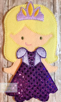 Rapunzel Dress Felt Doll Outfit by NettiesNeedlesToo on Etsy, $8.00,,,dress up doll in felt