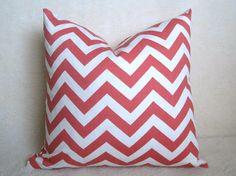 Chevron Decorative Pillow  Salmon  Coral  PInk  by WillaSkyeHome, $28.00