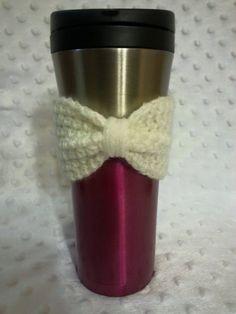 Cozy Crochet Bow Cup Cozy Bow Cozy Crochet Cozy Mug by AJsCrochets