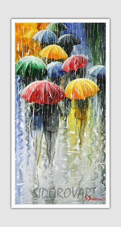 Oil Acrylic Whimsical Canvas Palette Knife Abstract Wall Art Impressionism Decorative Painting Abstract Landscape Autumn Aspens Fall Giclee Painting - Romantic Umbrellas by Stanislav Sidorov Umbrella Painting, Umbrella Art, Art Amour, Art Et Illustration, Love Art, Painting & Drawing, Rain Painting, Painting Abstract, Abstract Landscape
