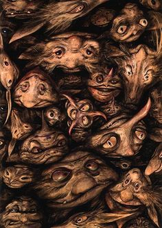 Labyrinth Goblins - Brian Froud Art Print by TipsyRiver on Etsy Brian Froud, Magical Creatures, Fantasy Creatures, Illustrations, Illustration Art, Kobold, Goblin King, The Dark Crystal, Mythological Creatures