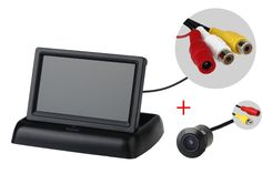 Free shopping E305 Waterproof 170 Angle Color CMOS Car Rear Cameras PAL/NTSC +Desktop folding 4.3inch LCD TFTcar monitor