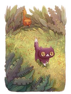 This new art series, created by Alena Tkach for NeonMob, is the story of a curious kitty named Pinkerton. Told through two beautifully illustrated images, our tiny hero makes new friends getting lost in the forest, and ultimately finding his way home. Art And Illustration, Adventure Cat, Lost In The Woods, Art Series, Cat Drawing, Cat Art, Art For Kids, Book Art, Character Design