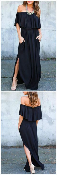 7e6a23151e Women s Boho off Shoulder Short Sleeve Ruffle Solid Maxi Dress with Pockets