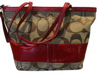 Coach Patent Leather Signature Tote in Beige and Red