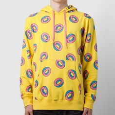 Yellow donut hoodie (chinese brand) Yellow donut hoodie (CHINESE BRAND). It looks like the odd future hoodie, just the name tag is different. Of is sold out everywhere! So why not just get the fake one :) they are super comfy. THEY ARE ASIA SIZE SO ONE SIZE SMALLER THEN US SIZE. (Ex: small us would be a medium in asia). Alsoo they will shrink ONLY if you wash it in hot water. Sizes s-xl available. Msg me for more questions. Sweaters