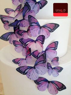 NEW 60 purple wedding butterflies favors on sale - cake decoration - assorted edible toppers by Uniqdots on Etsy