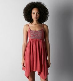 Red AEO Embroidered Babydoll Dress