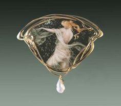 "Larissa Podgoretz   Dancer I,brooch, Enamel,18k gold, pearl - 2 3/4"" wide"