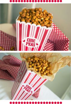 Roasted chickpeas, healthy, low fat, high fiber, whole food snack. Plus I want that chic peas carton! Whole Food Recipes, Snack Recipes, Cooking Recipes, Roasted Chickpeas Healthy, Crispy Chickpeas, Roasted Chic Peas, Edamame, Tapas, Healthy Snacks