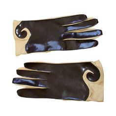 Pierre Cardin 1960s Vintage Space Age Brown/Tan Leather/Vinyl Gloves | From a collection of rare vintage gloves at http://www.1stdibs.com/fashion/accessories/gloves/