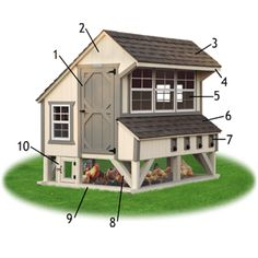 ": 1) Entry Door for easy access and cleaning. (2) Siding: 50-year warranted Smart Side in choice of color. (3) Roof: Lifetime warranted shingles. (4) 10"" Overhang to protect open windows from rain. (5) Lots of Windows for light and ventilation. (6) Nesting Boxes: Shingle roof with flashing to eliminate leaks and rotting. (7) Gather eggs from outside with ease! Egg collection doors with spring-loaded hinges. (8) Bottom Area Enclosed with Wire: Allows your chickens to ge..."