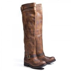 distressed over-the-knee boots with buckle, I NEED these!