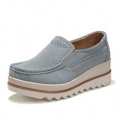 fbf3be78475b Women Platform Slip On Casual Suede Comfy Thick Heel Shoes