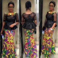Beautiful Ankara Skirt And Black Lace Blouse Combination - DeZango Fashion Zone