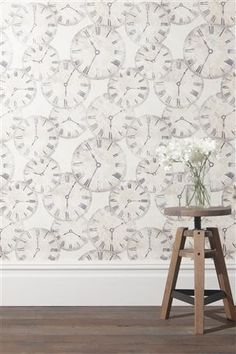 Clock wallpaper by Next. Kitchen?