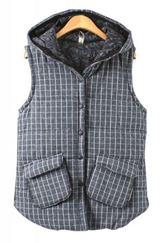 Love the Lining Fabric! Navy and White Plaid Grid Pattern Two-pocket Hooded Retro Style Vest
