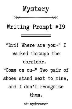 Prompts are the perfect way to get some inspiration for your writing, take a look at these mystery prompts and get writing! Fiction Writing Prompts, Book Prompts, Writing Prompts For Writers, Creative Writing Prompts, Book Writing Tips, Writing Words, Dialogue Prompts, Writing Ideas, Story Prompts