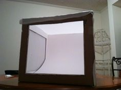 Light box for our product photo shoot. You can make one yourself for less than 10 dollars!