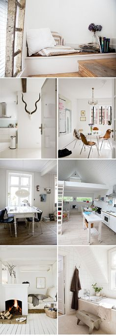 I love the white floor and the fireplace in the living space at the bottom
