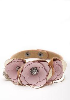 CARA COUTURE  Triple Flower Faux Leather Bracelet