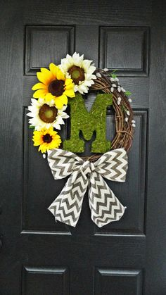 Summer and Fall Sunflower Wreath With Moss Monogram, Pussywillow, and Chevron Burlap Bow via Etsy
